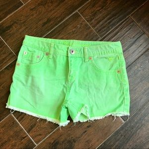 Justice neon green cut off denim shorts size 16